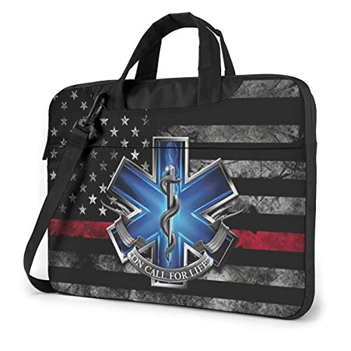 First Responders American Flag EMT Laptop Shoulder Bag Canvas Backpack Compatible Tablet Business Laptop Bag for Women Men Laptop Bag 15.6 Inch