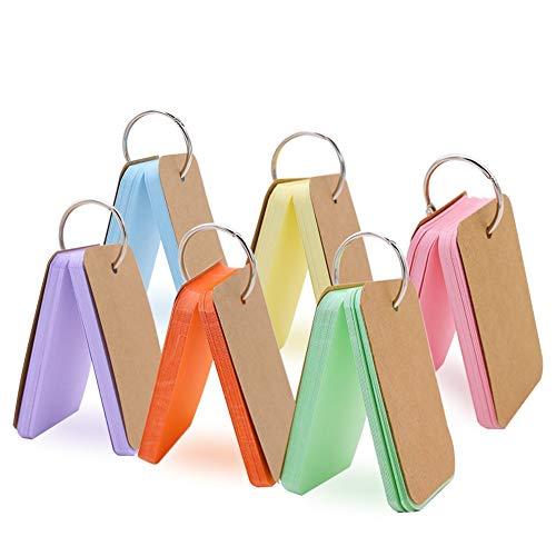 HAKACC 6 stk. Karteikarten mit Rind, Pocket Lernkarte, Mini mehrfarbige Kraftpapier Karten für Vokabel Lernen