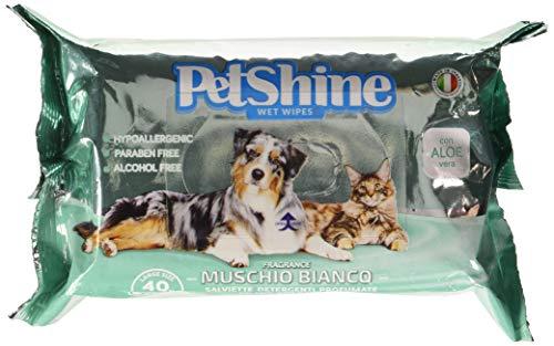 PORRINI Toallitas Higiene para Perro y Gato,Musgo Blanco Aloe, 40 uds, Perro 🔥