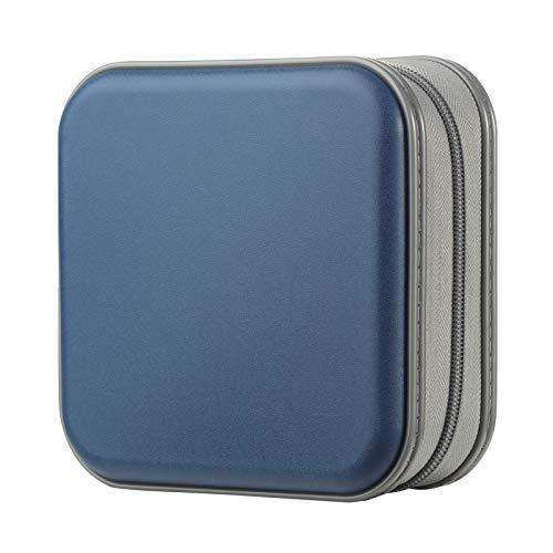 CD Tasche, alavisxf xx 48 DVD Tasche Hartplastik CD Taschen Aufbewahrung Schutzhülle DVD Lagerung CD Tasche für Kinder Auto (48 Kapazität, Dunkelblau48)