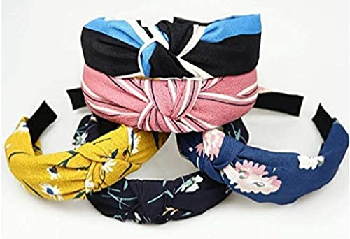 Hair Accessories Korean Style Solid Fabric Knot with Tape Plastic Hairband Headband for Girls and Woman 5 PCS RANDOM MULTI COLOUR