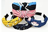 ANNA CREATIONS Hair Accessories Korean Style Solid Fabric Knot with Tape Plastic Hairband Headband for Girls and Woman 5 PCS-(RANDOM) MULTI COLOUR