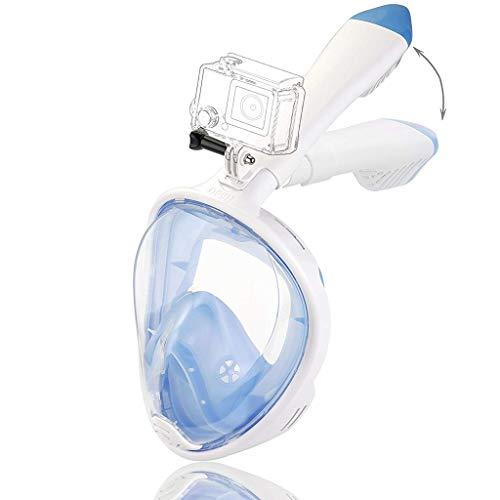 Rsiosles Máscara de esnórquel de Cara Completa, máscaras de Buceo Plegables Easybreath 180 ° Panorámica Seaview Anti-Fugas Antivaho con Soporte de cámara Tapones para los oídos Bolsa portátil