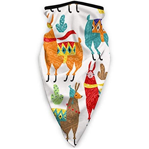 Pearl Bertie Colorido Llama Art Bufanda de Cara Completa Capucha Hombres Mantener Caliente Crochet Beanie Hat Bufanda de pasamontañas elástica para Deportes de Invierno