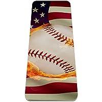 ヨガマット アメリカ国旗火野球スターストライプ あらゆるタイプのヨガ、ピラティス、フロアワークアウト用の極厚の滑り止めエクササイズ&フィットネスマット