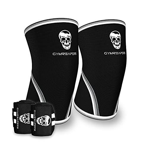 Elbow Sleeves (1 Pair) W/ Wrist Wraps - Support & Compression for Powerlifting, Weightlifting, Bench & Tendonitis - 5mm Neoprene Sleeve - For Men & Women (Large)