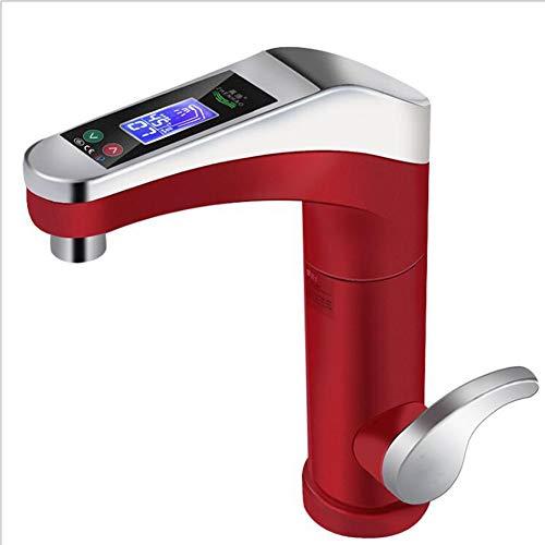 Dongbin Elektrische Wasserhahn Elektrische Warmwasserbereiter LED Temperaturanzeige Heizung Wasserhahn für Küche und Bad Klein Durchlauferhitzer,Haushaltsküche Warmwasserbereiter,Rot