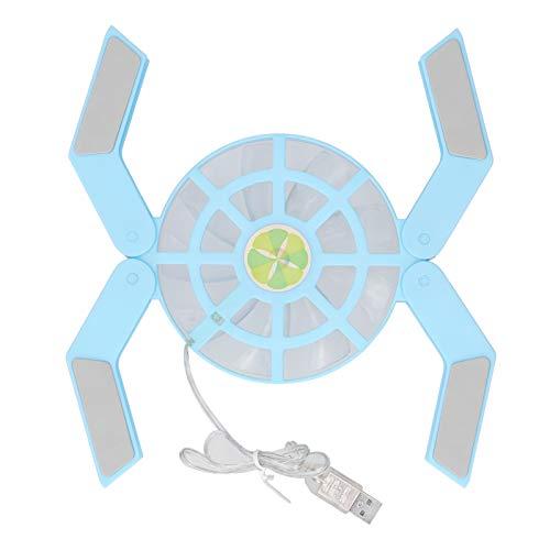 DR-S08 Almohadilla refrigeradora para computadora portátil con luminosa, soporte plegable USB para computadora portátil Ventilador grande silencioso, velocidad de ventilador de 500‑2500 rpm(azul)