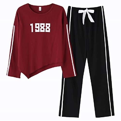 ShenZuYangShop pyjama lente en herfst katoen nachthemd dames lange mouwen sport dragen mode nachtjapon tweedelige pak brede-been broek katoen eenvoudige home service