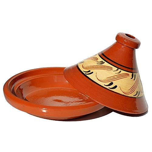 Marokkanische Tajine, glasiert, Verziert, Kegelförmig, Ø 30 cm, zum Kochen für 4-5 Personen, Tontopf, Gartopf, Schmortopf, Handgefertigt in Marrakesch