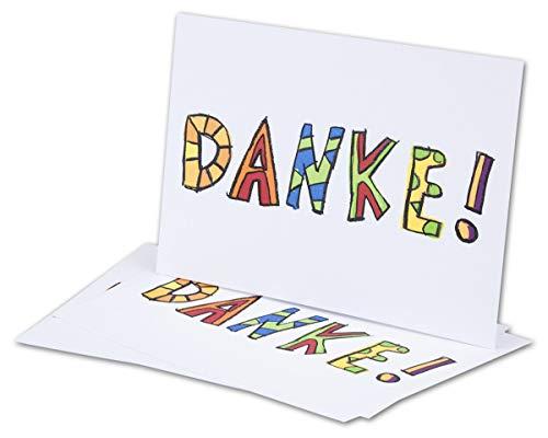 """NEUSER 10 Dankeskarten mit Umschlag Weiß DIN A6 Einfachkarte - Danksagungskarte """"DANKE"""" - Danke sagen nach Kommunion, Hochzeit, Geburt, Geburtstag - Postkarten-Format 14,8 x 10,5 cm"""