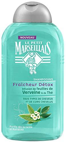 Le Petit Marseillais Shampoing Fraîcheur Détox Infusion de Feuilles de Verveine & Thé Tous Types de Cheveux 250 ml