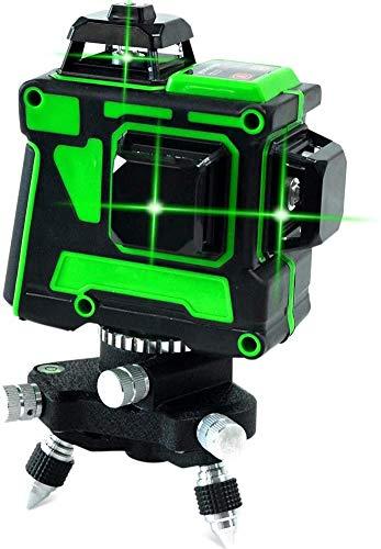 12 Zeilen Laser Level 3 x 360 Green Beam Gerade / Tilt Line 3 Ebenen Querlinie Laser Selbstausgleichung Wiederaufladbare Rotary Base 3D Ausrichtung IP54 Selbstniveau Vertikale / horizontale Linie Fein