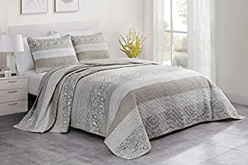 Chezmoi Collection Robyn 3-Piece Neutral Taupe Gray White Floral Hibiscus Flower Patchwork Striped Quilt Set - Pre-Washed Cotton Coverlet - Lightweight Reversible Bedspread Queen Size