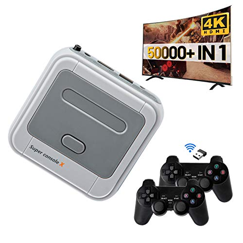 Super Console X Classic Retro Game Console with 256GB Card Built-in 50,000+ Games,Gaming Consoles for 4K TV HDMI Output,2 Controllers,Support NES/N64/PS1/PSP,WiFi/LAN,Gifts for Best Friend (256GB)