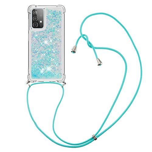 HülleLover Handykette Handyhülle für Samsung A52 5G, Glitzer Flüssig Bewegende Treibsand Transparent Silikon Hülle mit Kordel zum Umhängen Necklace Hülle Band für Samsung Galaxy A52 5G, Silber Blau