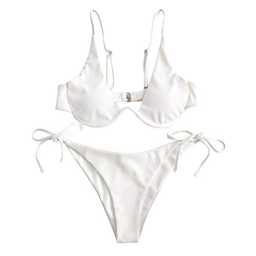 ZAFUL Damen Bügel gerippt Push Up Bikini Set Tie Side Bademode(Weiß,M)