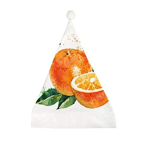 Mesllings aquarel oranje gedrukt kerst grappige partij hoed vakantie hoeden kerstmuts geschenken voor unisex volwassenen 50x35cm