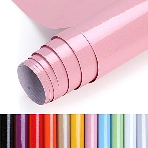 KINLO Aufkleber Küchenschränke rosa 40x500cm (2㎡) aus PVC Küchenfolie Klebefolie Tapeten Küche selbstklebende Folie Küche wasserfest Aufkleber für Schrank Möbelfolie Dekofolie MIT GLITZER