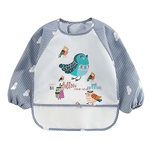Sraeriot Delantal de bebé Baberos Impermeable Manga Larga Babero de Dibujos Animados de Dibujos Animados de la babsa para niños pequeños Gris a pájaro Babs de alimentación Baberos Delantal