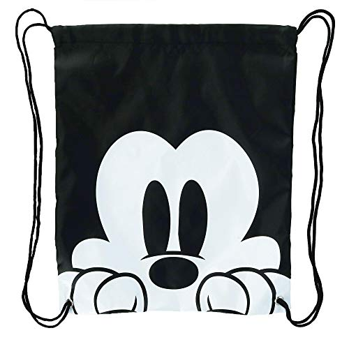 Disney Mickey Mouse Face Drawstring Tote Backpack, Black, One Size