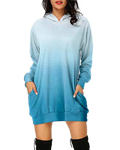 Auxo Damen Hoodies Langarm Pullover Sweatshirt Tie Dye Mini Kleider Casual Jumper Tops 01-Blau X-Large