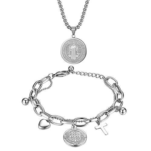Oidea Pulseras religiosas, conjuntos de collar, colgante de medalla de San Benito con cruz celta cristiana collar de acero inoxidable, plata