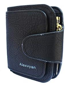 Alexvyan Women's Small leather Purse Wallet Female Hand Clutch Women/ Ladies/ Girls Wallets Card Holder 3 Pocket (Black)