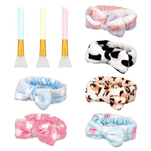 Firtink 6 Stück Spa-Stirnband, Gesicht Make-up Kopfband weich korallenrot aus Fleece Stirnband mit 3PCS Silikonbürsten für Duschen und Gesicht waschen