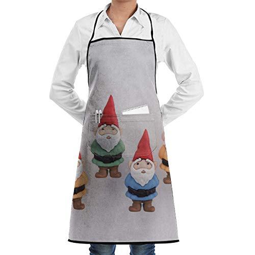 N / A Unisex Cooking Aprons Personalised Bib Apron Novelty Apron Adjustable Garden Apron Kitchen Apron Cute Gnome Apron Camouflage Waitress/Waiter Uniform 52X72Cm