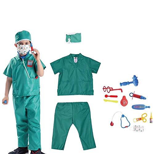 Disfraz infantil con accesorios, doctor/ingeniero/astronauta/cocina/marina/policía/soldat/esteado/abogado, disfraz de cosplay, para niños y niñas. Ärzte, grün \