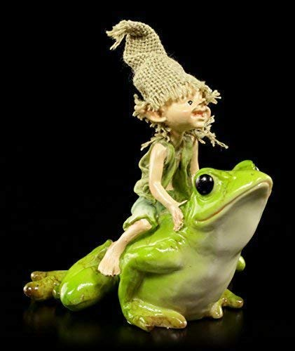Pixie Kobold Figur reitet auf Frosch | Fantasy Deko