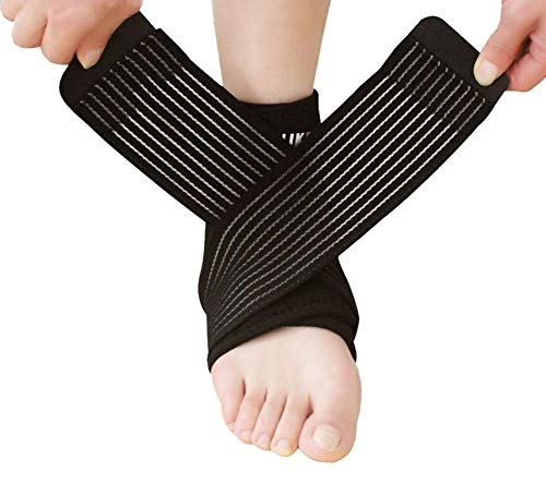 Nonslip Breathable Ankle Brace with Adjustable Compression Wrap Support Foot Stabilizer for Arthritis, Injury Recovery, Joint Pain, Ankle Sleeve Guard for Sports Basketball, Football, Soccer, Running