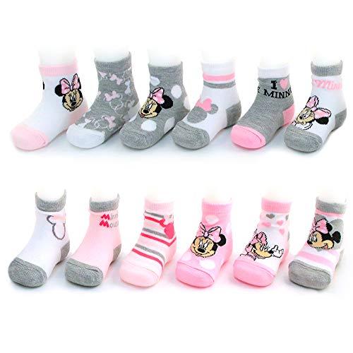 Disney Mädchen Verschiedene Minnie Mouse Designs 12 Paar Socken Variety Set 12-24 Monate Rosa-weiß-grau-Sammlung