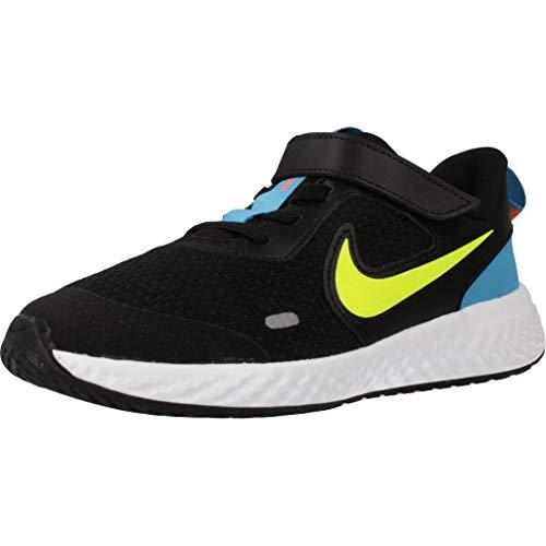 Nike Unisex-Child Revolution 5 (PSV) Running Shoe, Black/Lemon Venom-Laser Blue, 31.5 EU