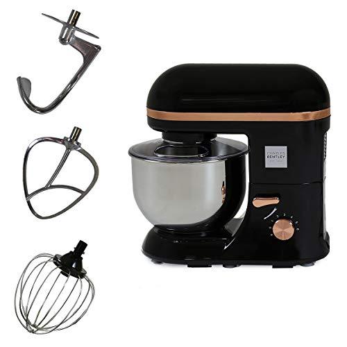 Charles Bentley 1300W5L Stainless Steel Bowl Stand Mixer for Kitchen Baking Teflon Balloon Whisk Black & Rose Gold Retro Cake Baking Copper 130w Power