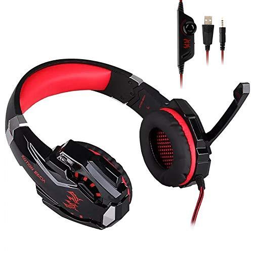 Fbewan Auriculares Gaming PS5, Cascos Gaming de Mac Estéreo con Micrófono Cascos Gaming 3.5mm Jack con Luz LED Bass Surround y Cancelación de Ruido Auriculares Compatible con Playstation 5,Rojo