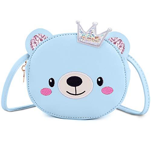 KEREDA Kinder Mädchen Umhängetasche Messenger Bag Animal Handtasche PU Leder Cute CrossBody Bag Mini Purse E Blau Bär
