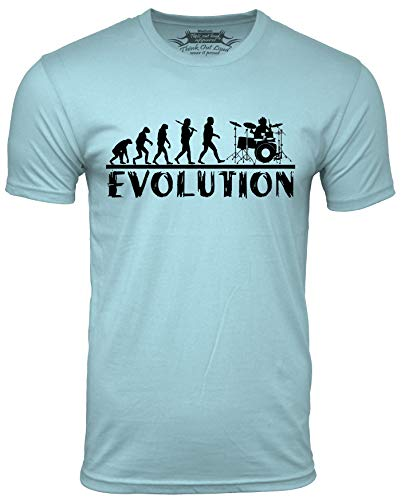 Think Out Loud Apparel Drummer Evolution Funny T-Shirt Musician Drums Humor Tee Light Blue Medium