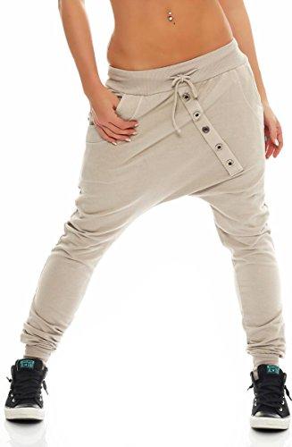 Malito Damen Sweathose in Unifarben | Baggy zum Tanzen | Jogginghose mit Knopfleiste | Sweatpants - Trainingshose 8023 (beige)