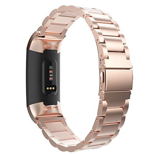 MoKo Cinturino per Fitbit Charge 3/4, Braccialetto in Acciaio Inossidabile con Chiusura Pieghevole per Fitbit Charge 3/4 - Oro Rosa