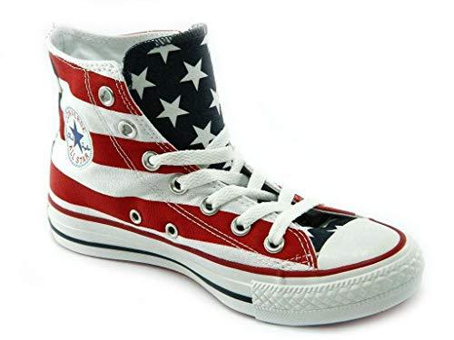Converse ALL Star CT Sneakers Scarpe Bandiera America Alte Uomo Donna Bianco 35 EU