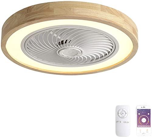 DULG Ventiladores de techo inteligentes Luces con control remoto Lámpara de techo LED de 72W Ventiladores de techo regulables con lámparas Lámparas de madera de hoja invisible Velocidad del viento aju