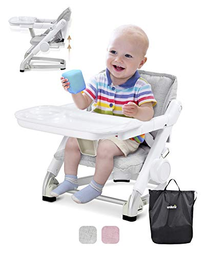 of baby floor seats dec 2021 theres one clear winner Unilove Feed Me 3-in-1 Travel Booster Seat | Adjustable with Detachable Tray, Lid and Carry Bag, 3-Way Security Safety Harness, Ergonomic & Comfortable Cushion to Support Babies and Toddlers, Grey