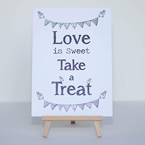 Luck and Luck Candy Sweet Bar Sign White 'Love Is Sweet' Sign And Easel Stand - Wedding