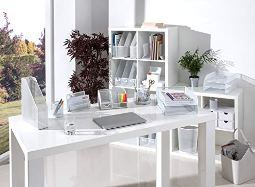 Osco md01-SLV Desk Organizer di argento filo intrecciato