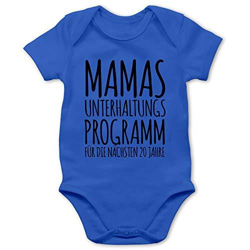 Shirtracer Strampler Motive - Mamas Unterhaltungsprogramm für die nächsten 20 Jahre - 1/3 Monate - Royalblau - Baby Kleidung mit Spruch - BZ10 - Baby Body Kurzarm für Jungen und Mädchen