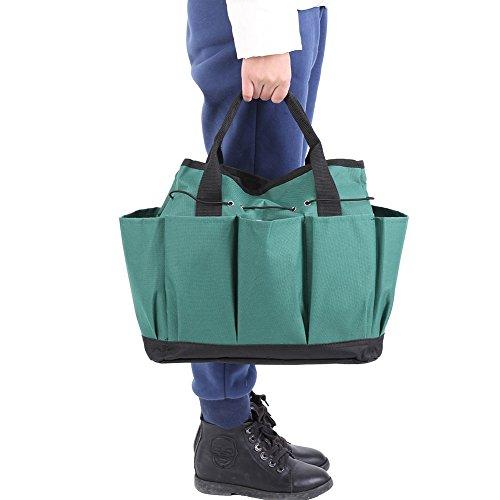 Tuingereedschapstas, opbergtas en tuingereedschapstas handtas met kleine vakken, slijtvaste herbruikbare handtas. donkergroen.