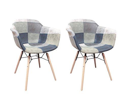Meubletmoi stoel, patchwork, Scandinavisch, vintage, zacht, suède-stijl, poten van hout, modern, 2 stuks