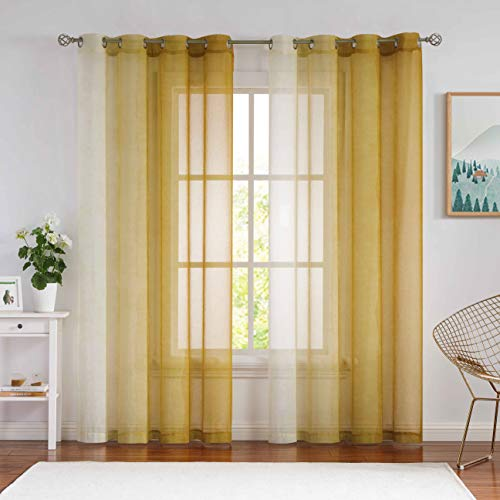 """NottingsonHome Faux Linen Ombre Sheer Curtains 63 Inch Length, Farmhouse Print Yellow and White Gradient Tulle Voile Drapes for Bedroom and Living Room, Mustard Yellow Ring Top 54"""" Wx63 L, 2 Panels"""